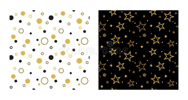 Seamless party patterns with stars and confetti. Vector illustration vector illustration