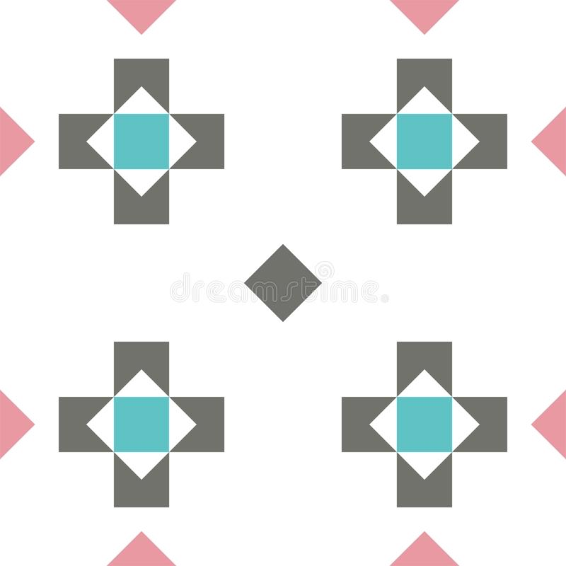 Seamless pastel colored geometric pattern or background with crosses and rhombuses stock illustration