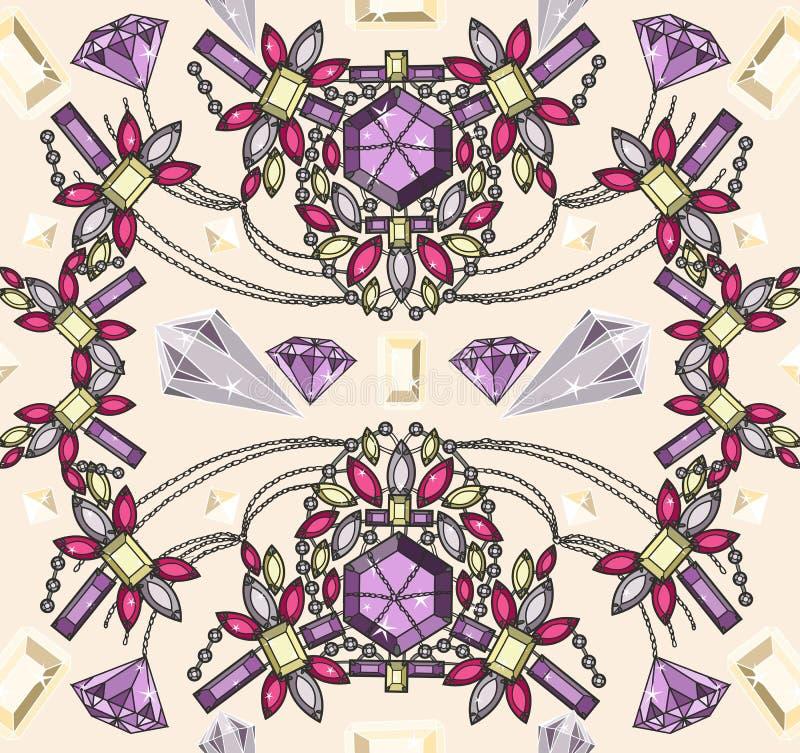 Seamless pastel jewelery necklace kaleidoscope pat. Tern. Background with colorful gemstones and diamonds stock illustration