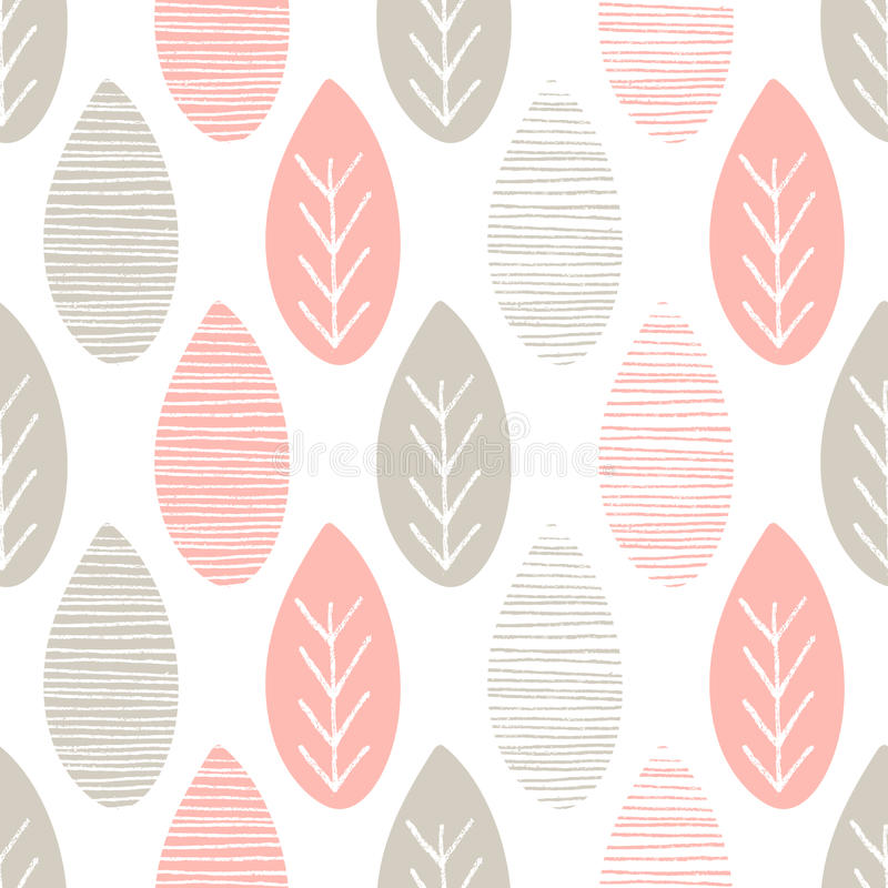 Seamless pastel nature vector pattern. Leaves with lines and twigs on white background. Hand drawn abstract spring ornament. Seamless pastel nature vector stock illustration