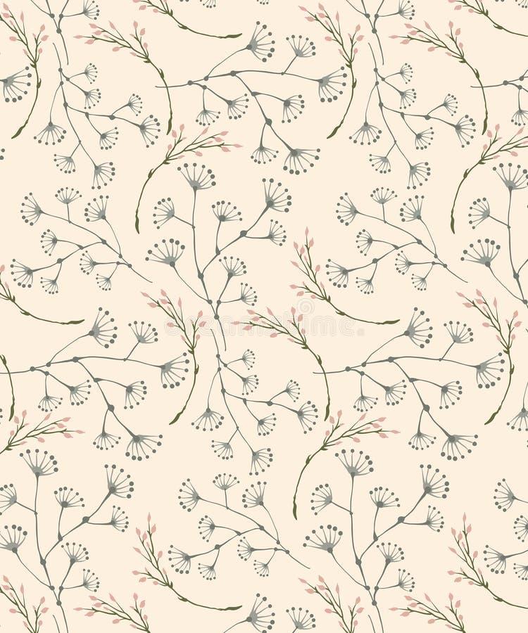 Seamless pastel off white prairie delicate pattern vector illustration