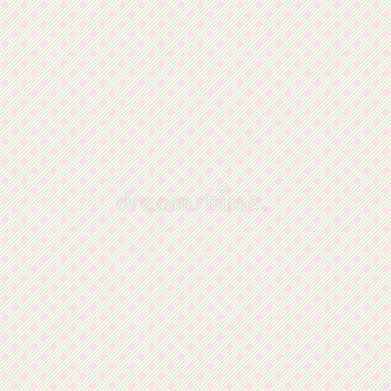 Seamless pastel polka dot with diagonal lines pattern background. Pink dotted template. EPS 10 stock illustration