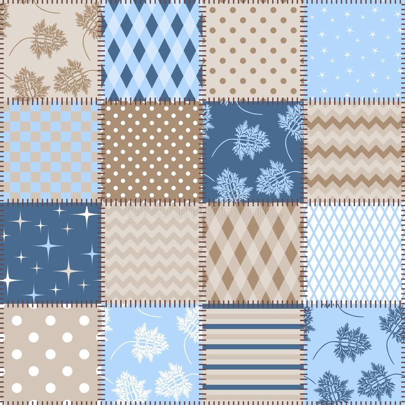 Seamless patchwork background with different patterns in blue and brown colors. Design for fabric stock illustration