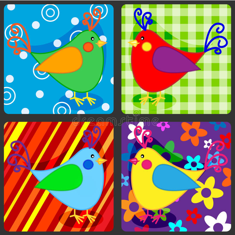 Download Seamless patchwork birds stock illustration. Image of graphic - 36220321