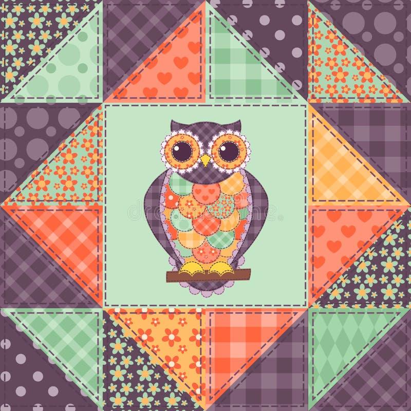 Seamless patchwork owl pattern 1 stock illustration