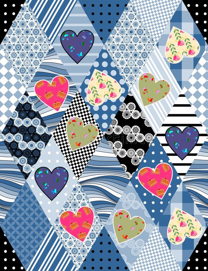 Seamless patchwork pattern with applique of colorful hearts. Beautiful vector illustration of quilt stock illustration