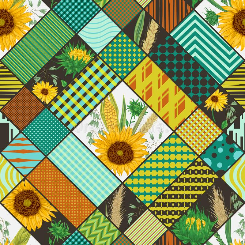 Seamless patchwork pattern with cereals, sunflowers and geometric ornament. Vintage vector illustration in watercolor style vector illustration