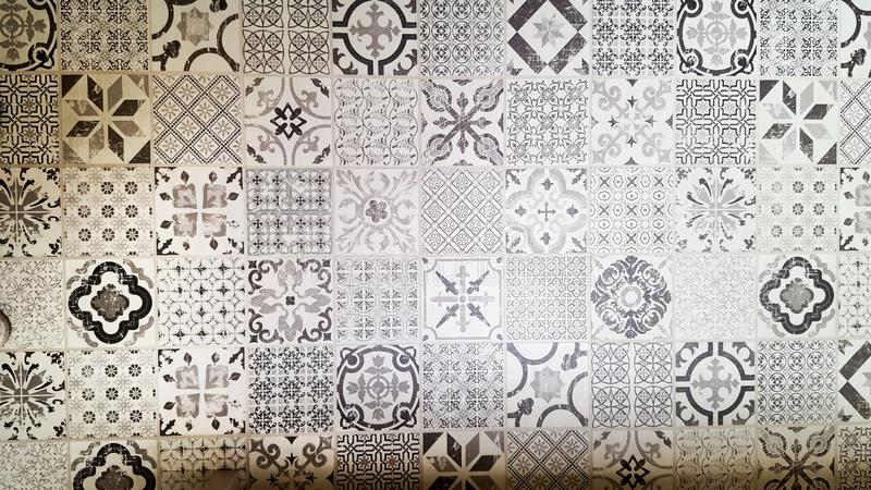 seamless patchwork pattern from dark grey and white Moroccan stock photo