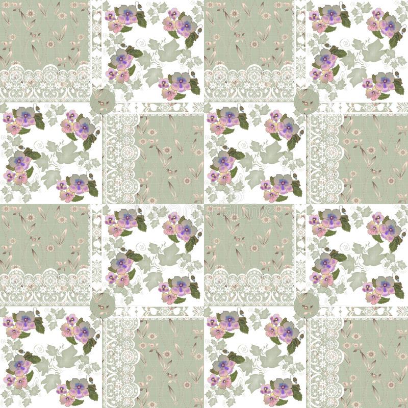 Seamless patchwork pattern with flowers and lace stock illustration