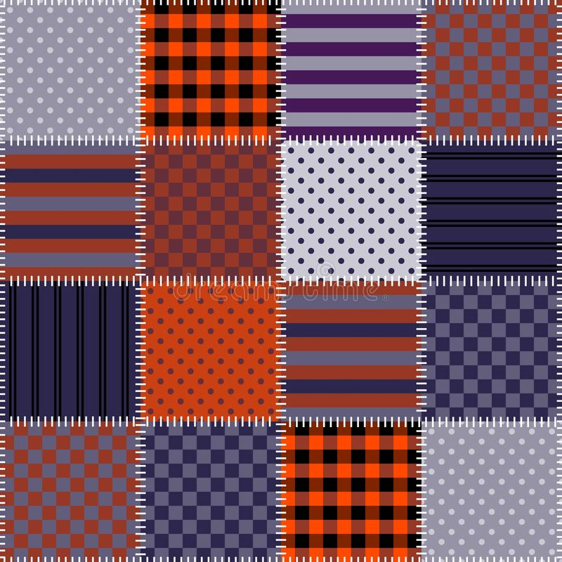 Seamless patchwork pattern in Halloween colors. Quilting. royalty free illustration