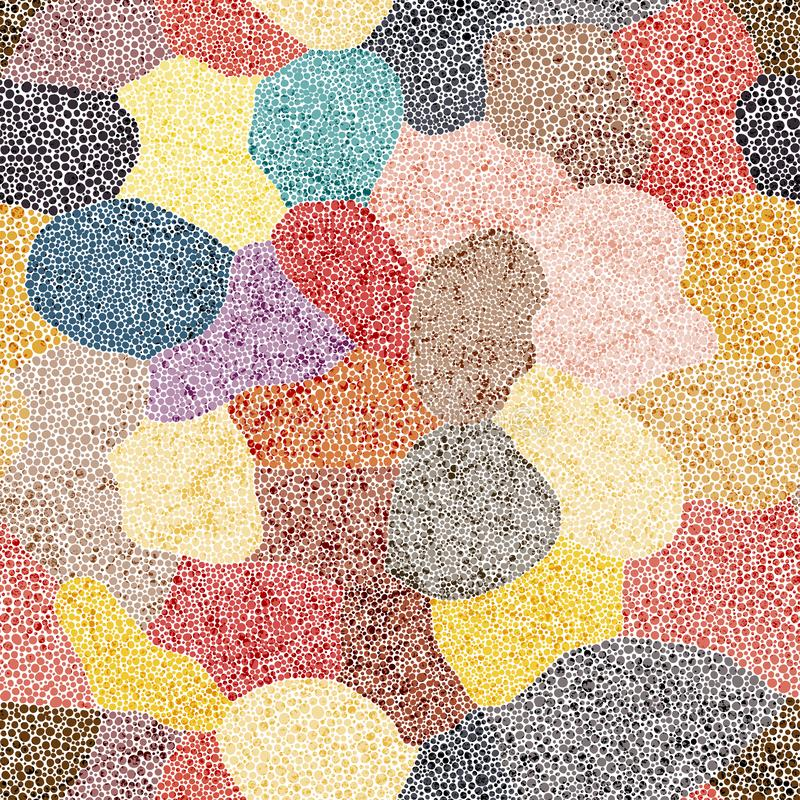 Free Seamless Patchwork Pattern In Pointillism Style. Handwork. Grunge Texture. Vector Illustration Royalty Free Stock Photo - 157615585