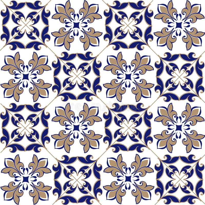 Seamless patchwork pattern from Moroccan ,Portuguese tiles in blue and brown colors. Decorative ornament can be used for wallpaper vector illustration
