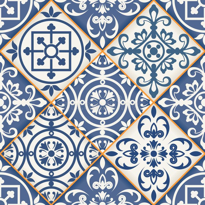 Seamless patchwork pattern , Moroccan tiles royalty free illustration