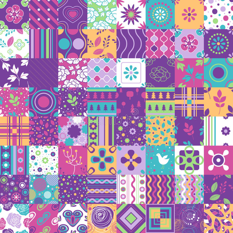 Seamless patchwork pattern ornaments. Can be used for wallpaper, pattern fills, web page background,surface textures. vector illustration