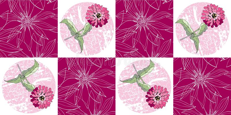 Seamless patchwork pattern with pink zinnia flowers. royalty free illustration