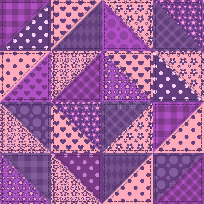 Seamless patchwork violet color pattern vector illustration