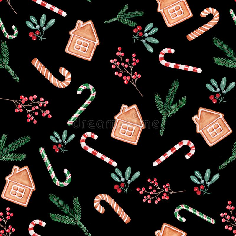 Seamless patern Christmas illustration, hand drawn watercolor. Berries, lollilop, mistletoe, gingerbread on black background. vector illustration