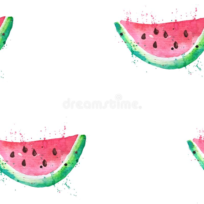Seamless patern Watercolor drawing of a slice of watermelon with seeds and paint splashes. Half a slice of watermelon stock illustration