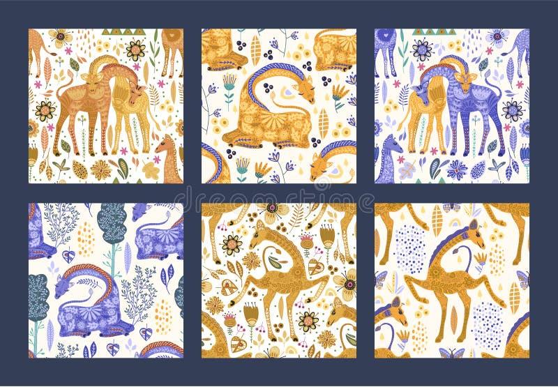 Seamless patten vector set ornate giraffes royalty free stock images