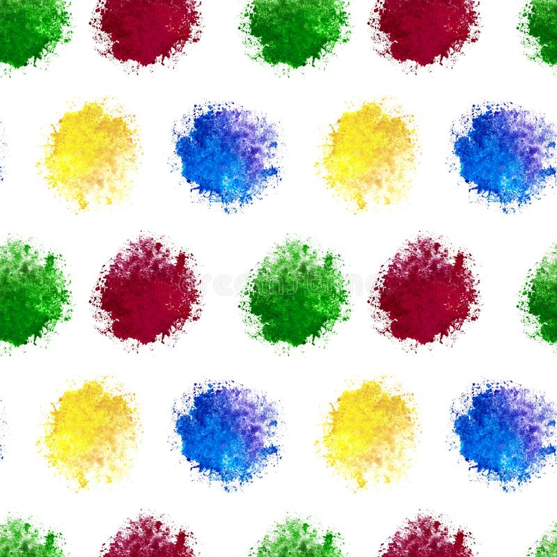 A seamless patten of watercolor blue yellow red green blot splashes isolated on white background for textile, wallpaper, wrapper, stock illustration