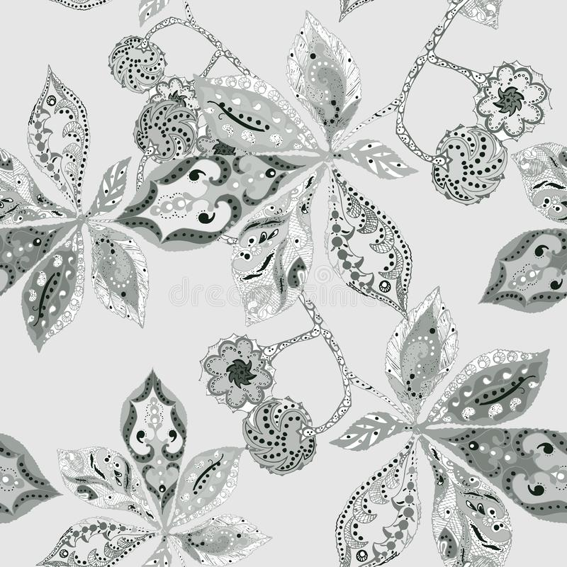 Seamless patter chestnut leaves on gray background. Vector. Seamless patter chestnut leaves gray background deorative monochrome graphic vector vector illustration