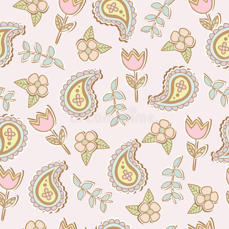 Download Seamless Patter Of Paisley And Flower Cartoon Royalty Free Stock Images - Image: 30330069