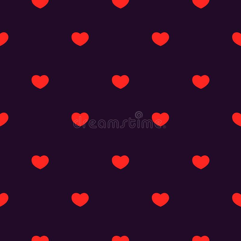 Seamless patter of red hearts on dark purple background. Textile, texture, clothing, wallpaper stock illustration