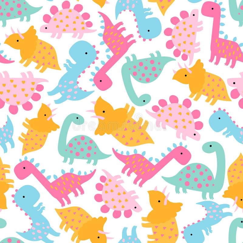 Seamless pattern of сute cartoon dinosaurs on white background. vector illustration