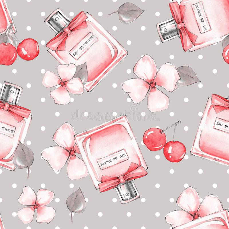 Free Seamless Pattern 22. Bottle Of Perfume And Flowers Stock Photos - 102909593