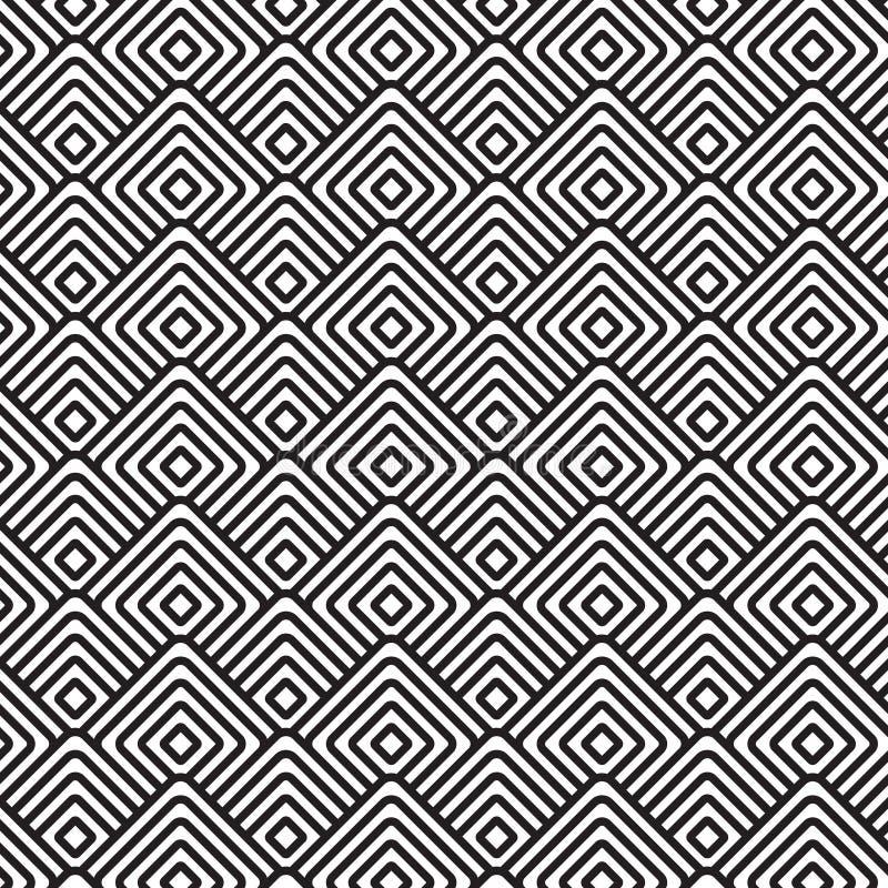 Seamless pattern. Seamless square pattern black and white stock illustration