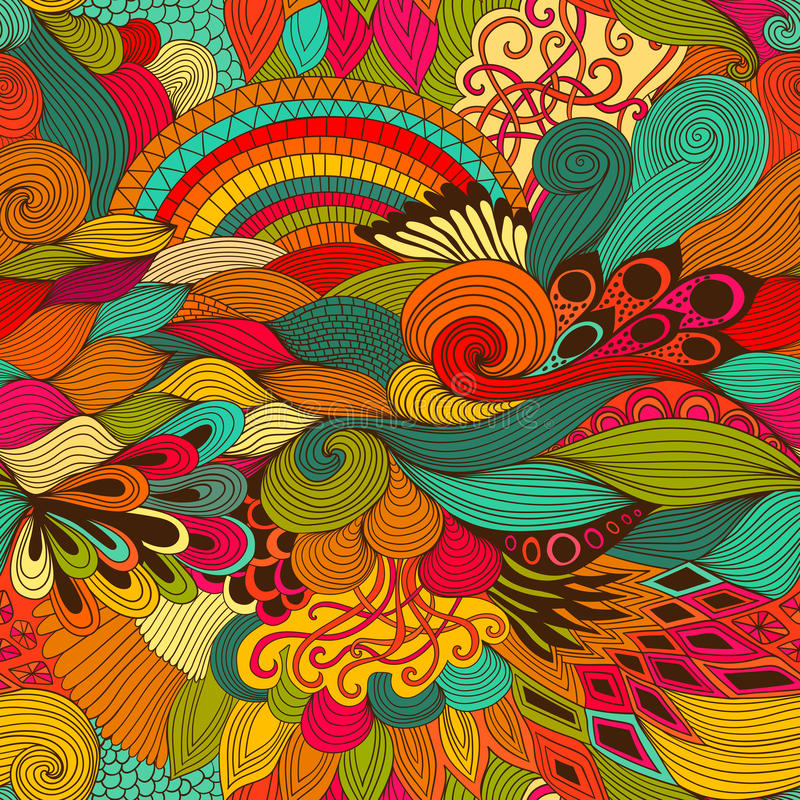 Seamless Pattern Abstract Background With Colorful Ornament Hand