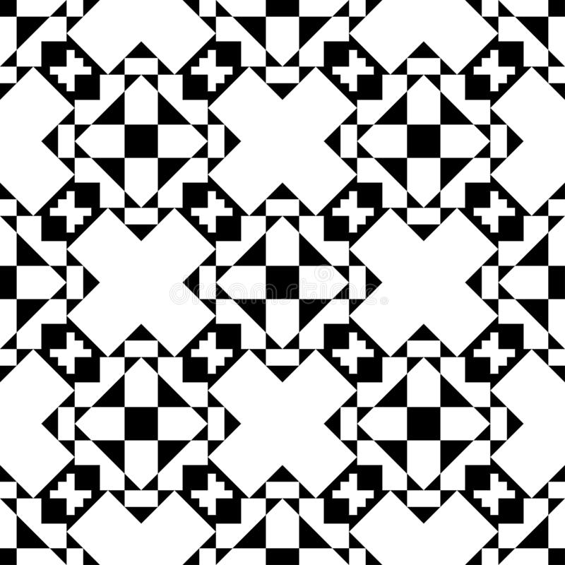 Seamless pattern. Abstract seamless pattern background geometric black and white stock illustration