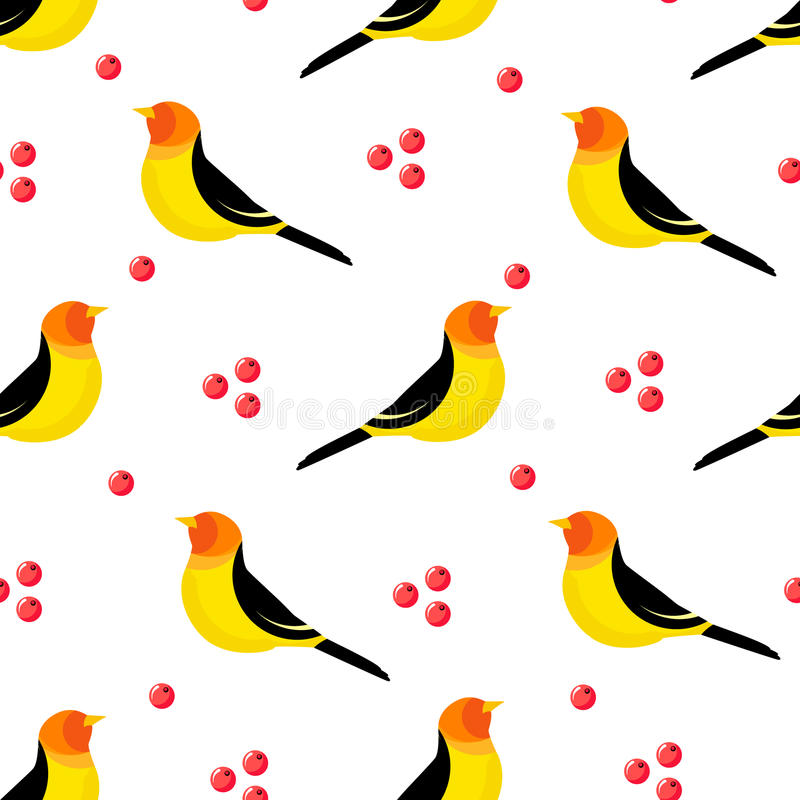 Seamless pattern with abstract bird and berries on white background. Vector illustration.  royalty free illustration
