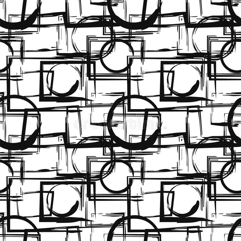 Seamless pattern with abstract black geometric figures in grunge style. Vector design elements vector illustration