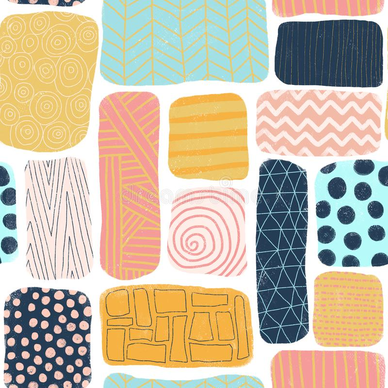 Seamless pattern abstract blocks. Square and rectangle doodle shapes with different textures. Mosaik puzzle style background blue, royalty free illustration