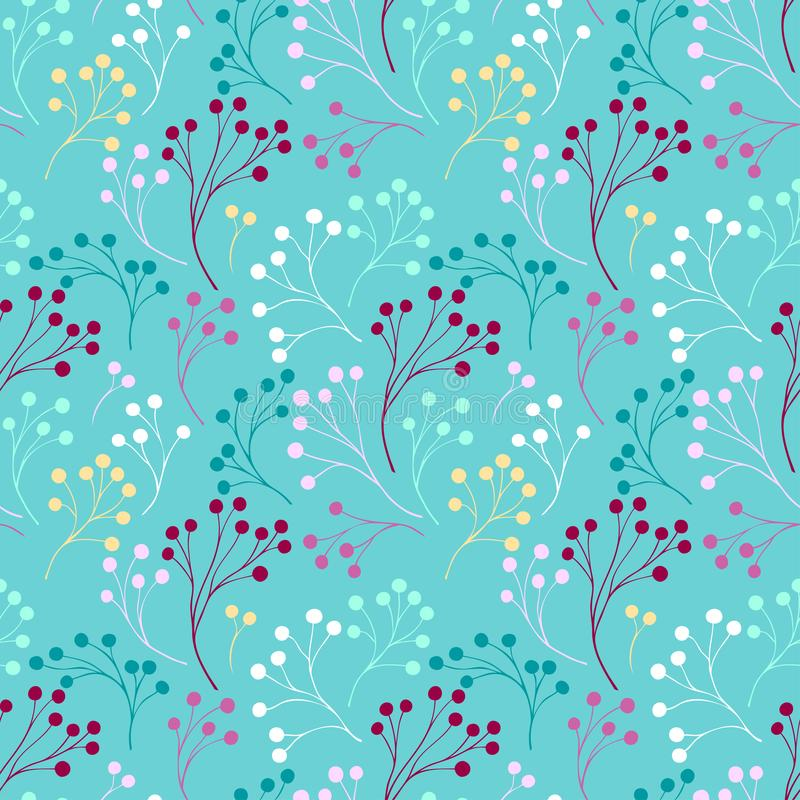 Seamless pattern with abstract branches colorful tones on blue. For decoration different things royalty free illustration