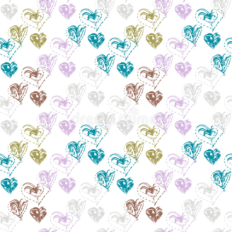 Seamless pattern. Abstract seamless pattern with brush strokes hearts, design element. Can be used for invitations, greeting cards, scrapbooking, print, gift stock illustration