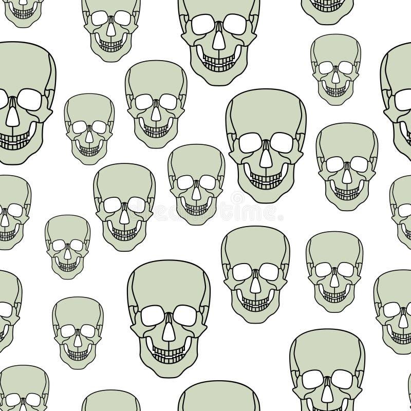 Cartoon skul pattern. Seamless pattern of the abstract cartoon skulls stock illustration