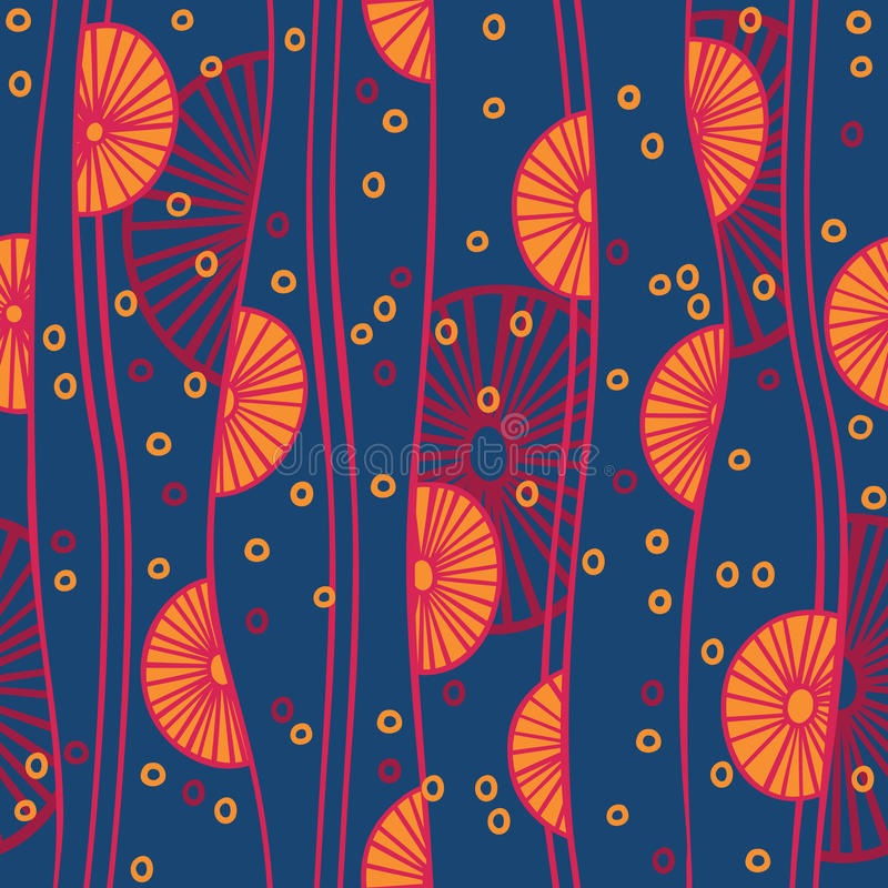 Seamless pattern with abstract circles and lines vector illustration