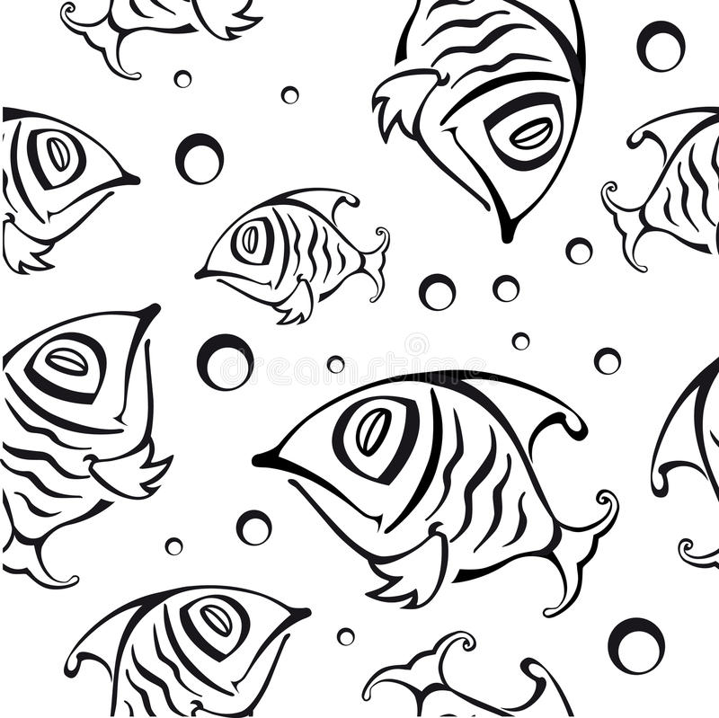 Seamless pattern with abstract fish royalty free illustration