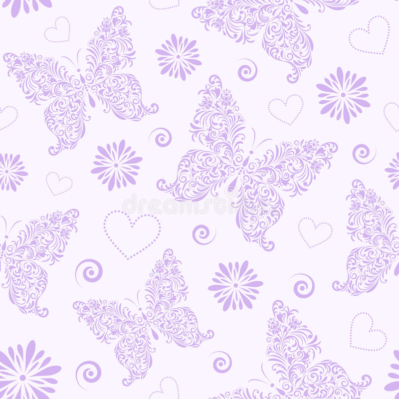 Seamless pattern with abstract floral butterfly stock illustration
