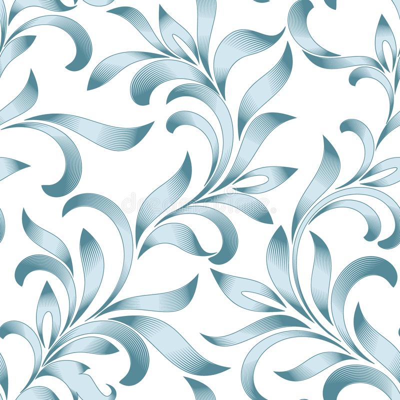 Seamless pattern of abstract floral ornament with curled leaves. Blue tracery isolated on white background. stock illustration