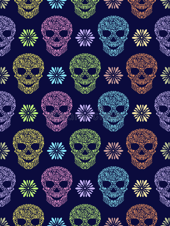 Seamless pattern with abstract floral skulls royalty free illustration