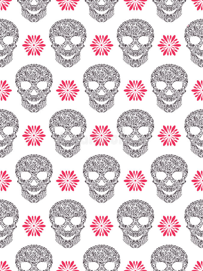 Seamless pattern with abstract floral skulls stock illustration