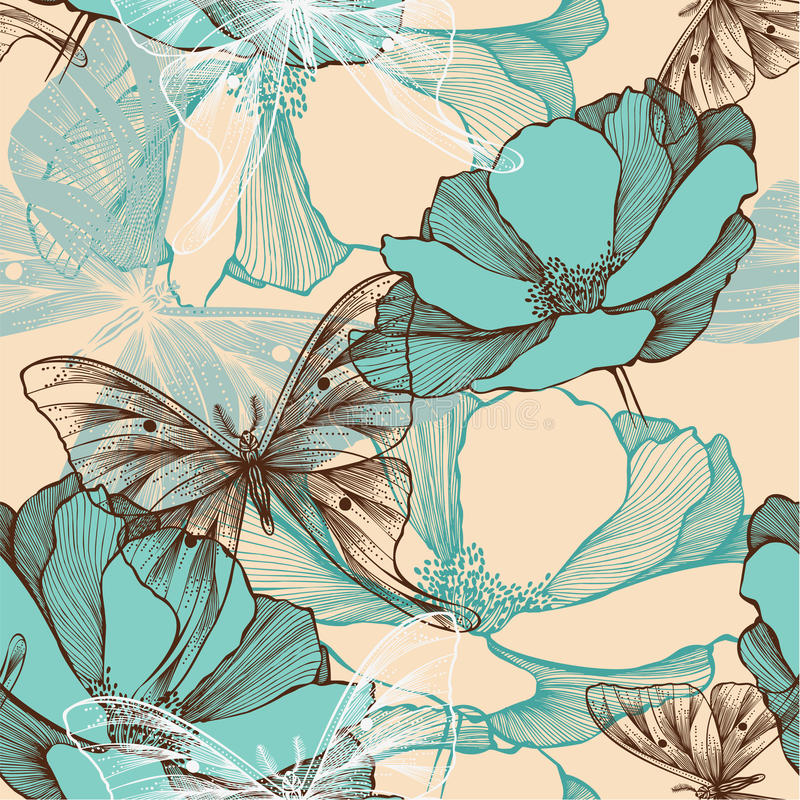Seamless pattern with abstract flowers and decorat stock illustration