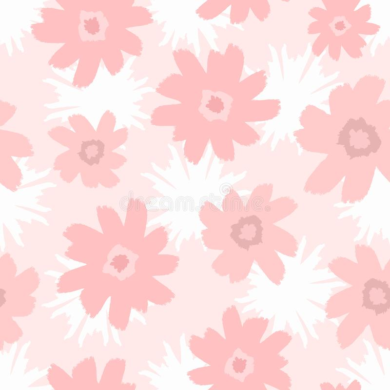 Seamless pattern with abstract flowers drawn by hand with watercolour brush. Cute feminine floral print. stock illustration