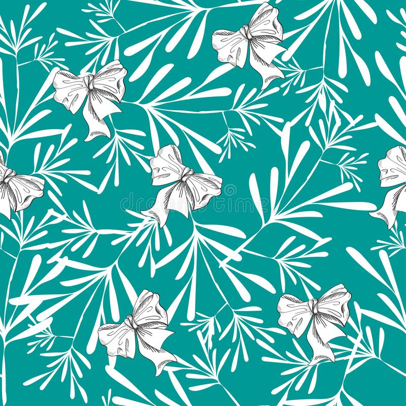 Seamless pattern with pretty flowers and bows on blue stock photos