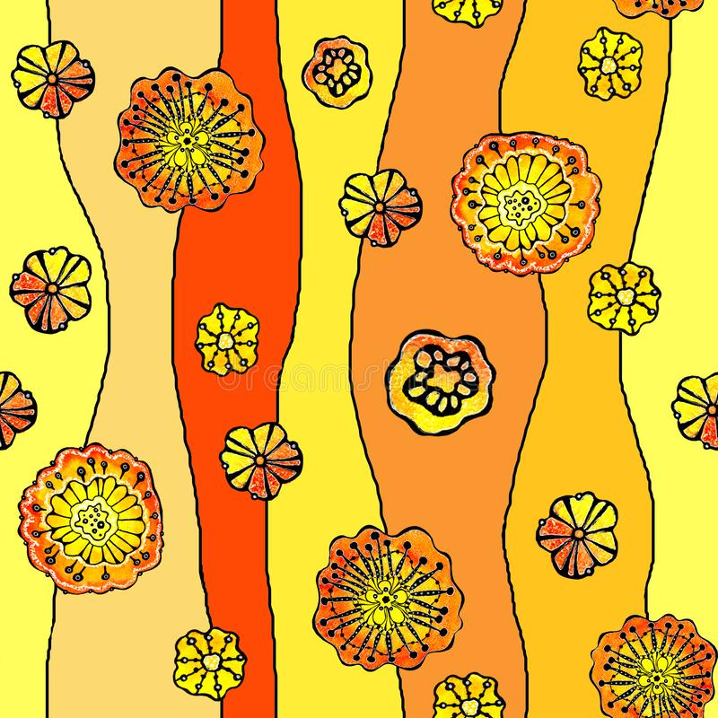 Seamless pattern of abstract flowers poppy, sunflower. Graphics on a watercolor background, for the design of backgrounds, stock illustration