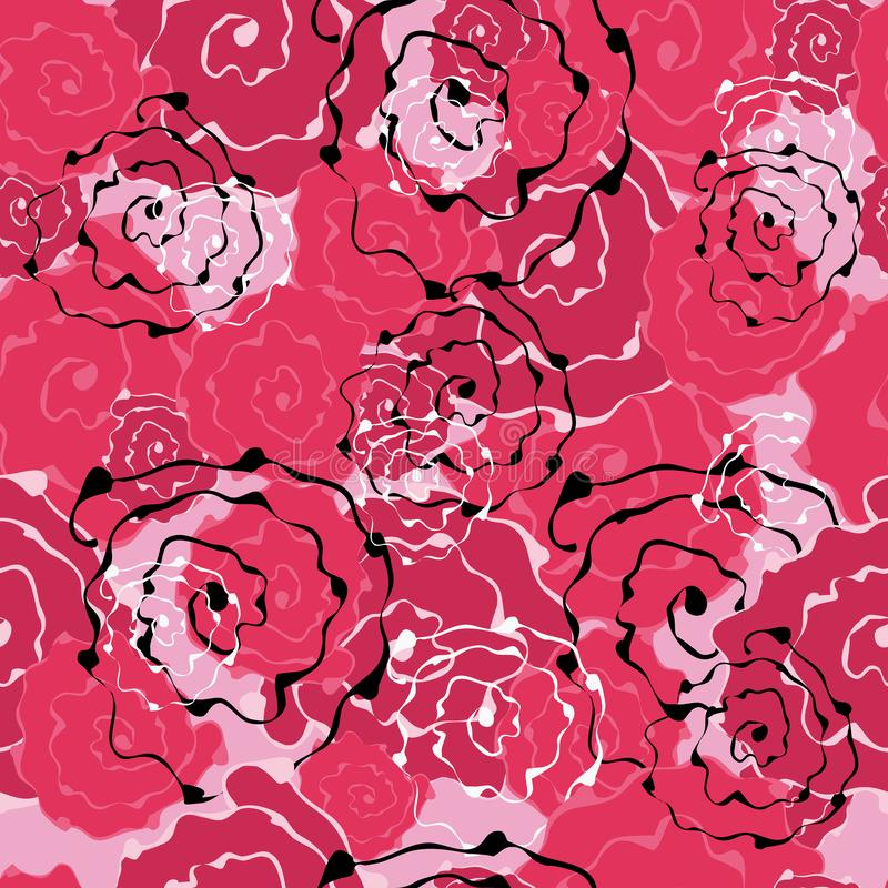 Seamless pattern of abstract flowers roses. For design backgrounds, wallpapers, covers, fabrics stock illustration