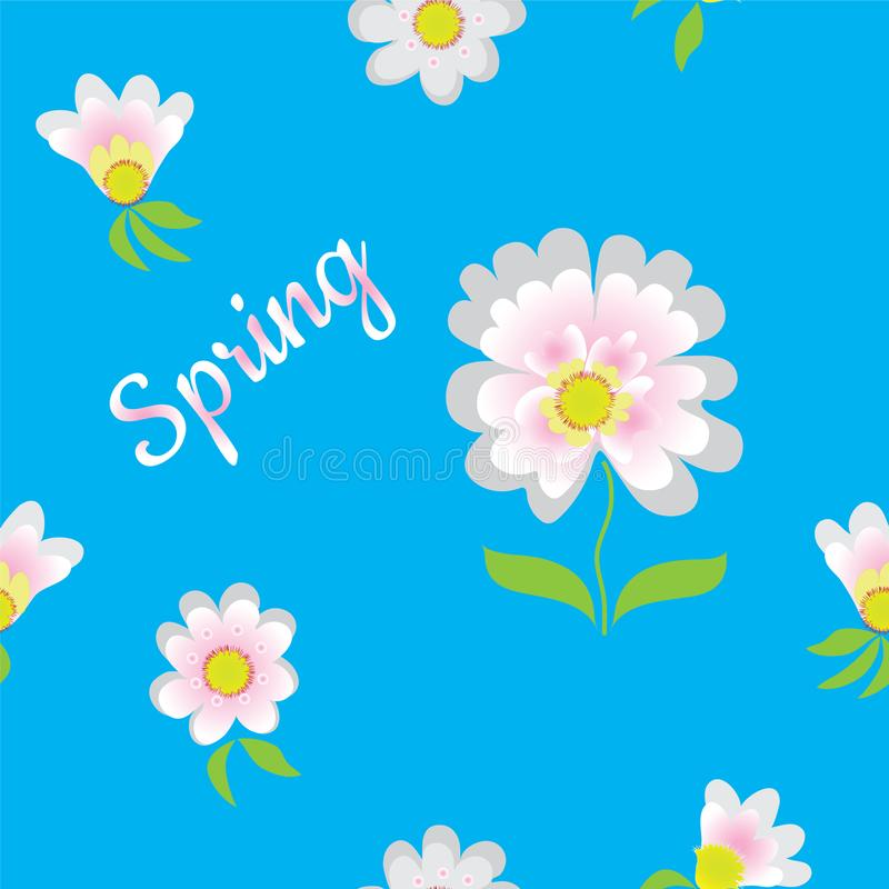 Seamless pattern with abstract flowers and word spring in white,pink, blue colors. For web design royalty free illustration